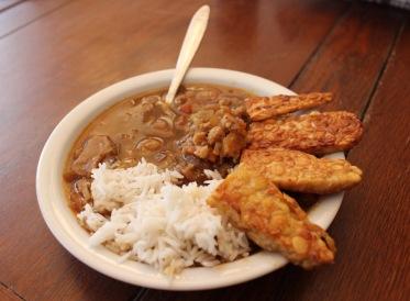 Hier das fertige Blumenkohl-Curry mit Reis und dem frittierten Tempeh.